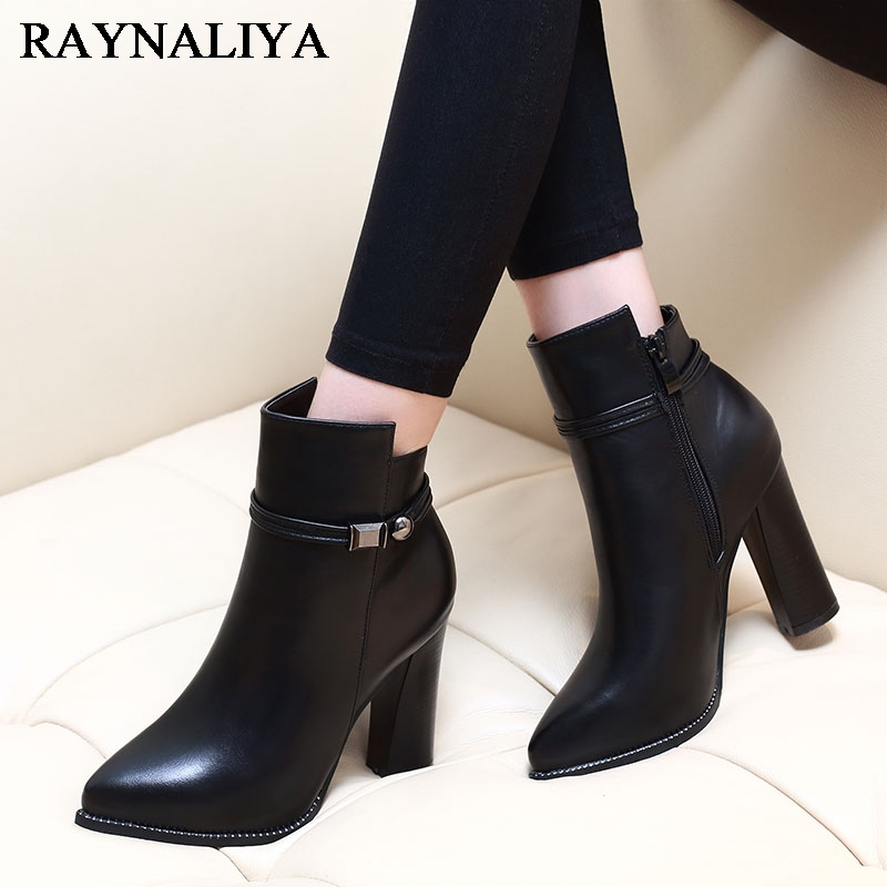 Women 7CM High Heel Pointed Toe Ankle Boots Fashion Side Zipper Dress Boots Short Plush Winter Black Leather Shoes CH-A0000 women faux suede side zipper sexy thin high heel thigh boots fashion pointed toe winter shoes black g