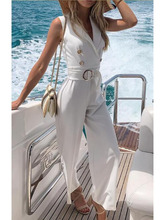 2019 summer Women Sexy Sleeveless V Neck Lace Up Wide Leg Long white Jumpsuit Overalls Bodysuit black Causal Rompers with belt black lace up design v neck long sleeves sexy bodysuit