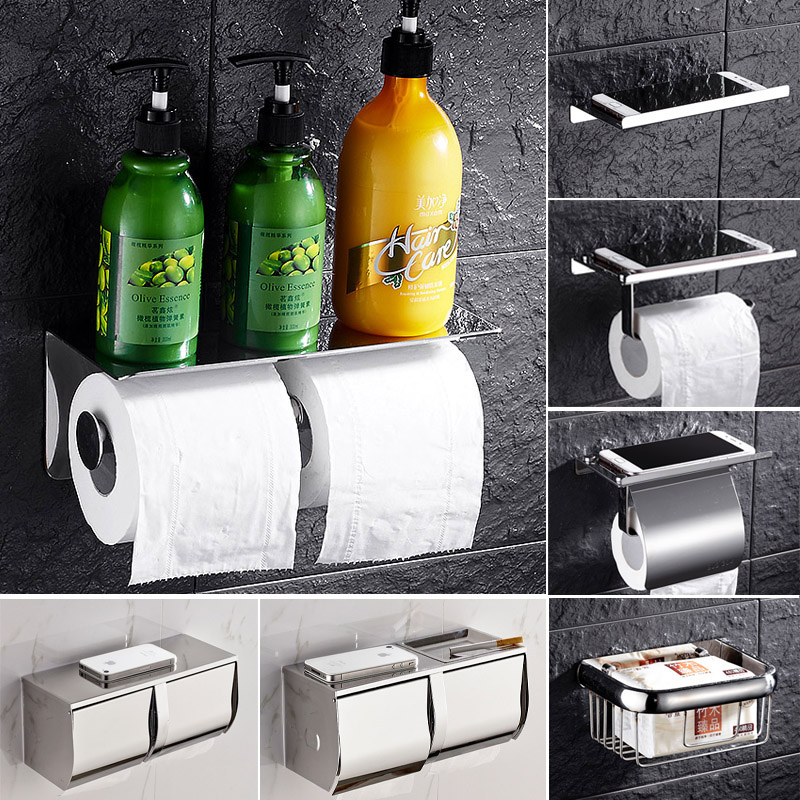 MEIFUJU Stainless Steel Toilet Paper Holder Toilets Roll SUS304 Toilet Paper Holder with Shelf Double Paper Holders Wall Mount