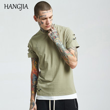 Mans T-shirt Wash Hole Ripped Cool Mens Tshirts Spring and Summer New Fashion Hip-hop Multicolor Short-sleeve Tees Cotton
