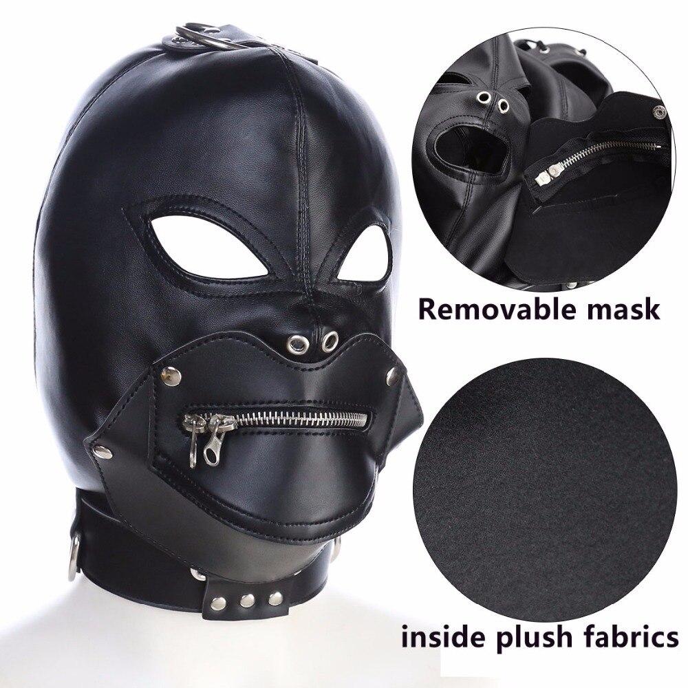 купить Head bondage leather hood with removeable mask adult sex toys bdsm restraints adult games fetish wear for couples headgear недорого