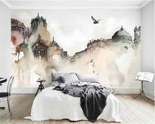 beibehang Custom high quality 3d wallpaper mural nordic city architecture watercolor castle abstract art background