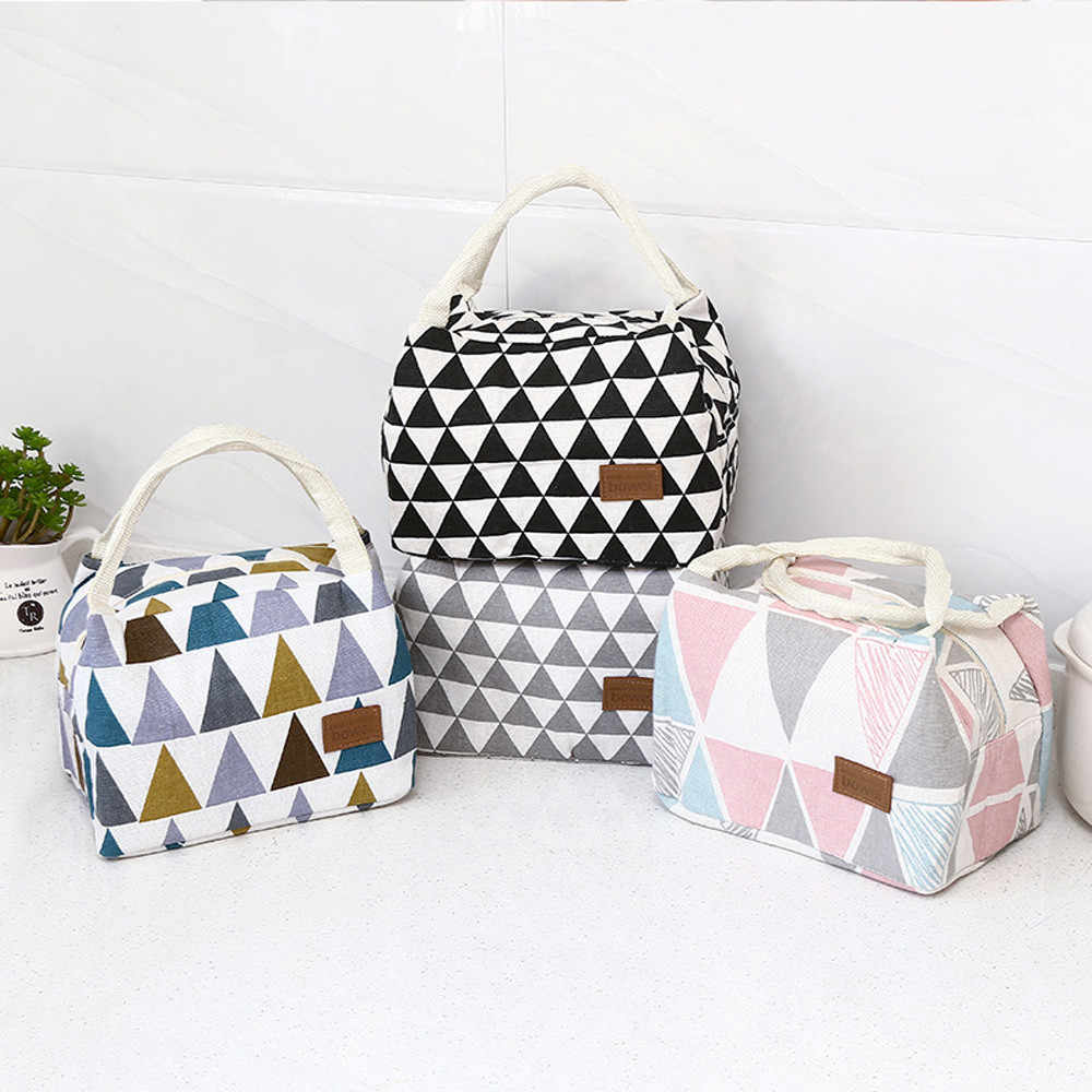 Lunch Bag For Women Men Portable Thermal Insulated Bento Box Tiffin Plain Print Canvas School Picnic Kids Food Bag