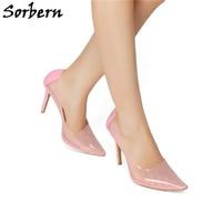 Sorbern Transparent Sweet Party Pumps Spring Size 11 Shoes For Women High Heels Ladies Pumps Pink Custom Color Stilettos Slip On