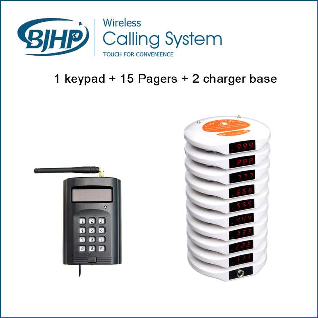 Design de moda Sem Fio Restaurante Sistema de Paginação Tabela Buzzer (1 Teclado + 15 Bases de Pagers Coaster + 2 Carregador)