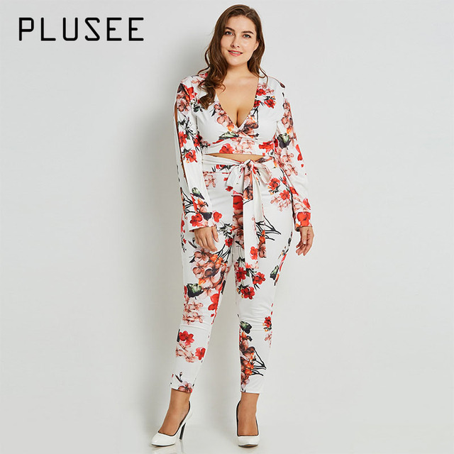 Plusee Suit Plus Size 3XL Women's Sets Autumn White Formal Pencil Pants  Lace-Up Print
