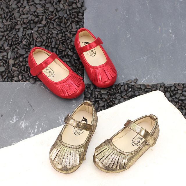 Girl Shoes Party Tassel Girl Princess Shoes Little Baby Toddler Shoes  Sapatos Menina Dress Flats Gold Red Chaussure Fille 21-25  711b3b87ff8f