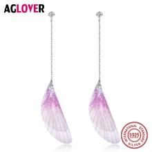 Drop Earrings Tassel Purple Feather 925 Sterling Silver Earrings Long Bohemian Women Wedding Fashion Jewelry Earring