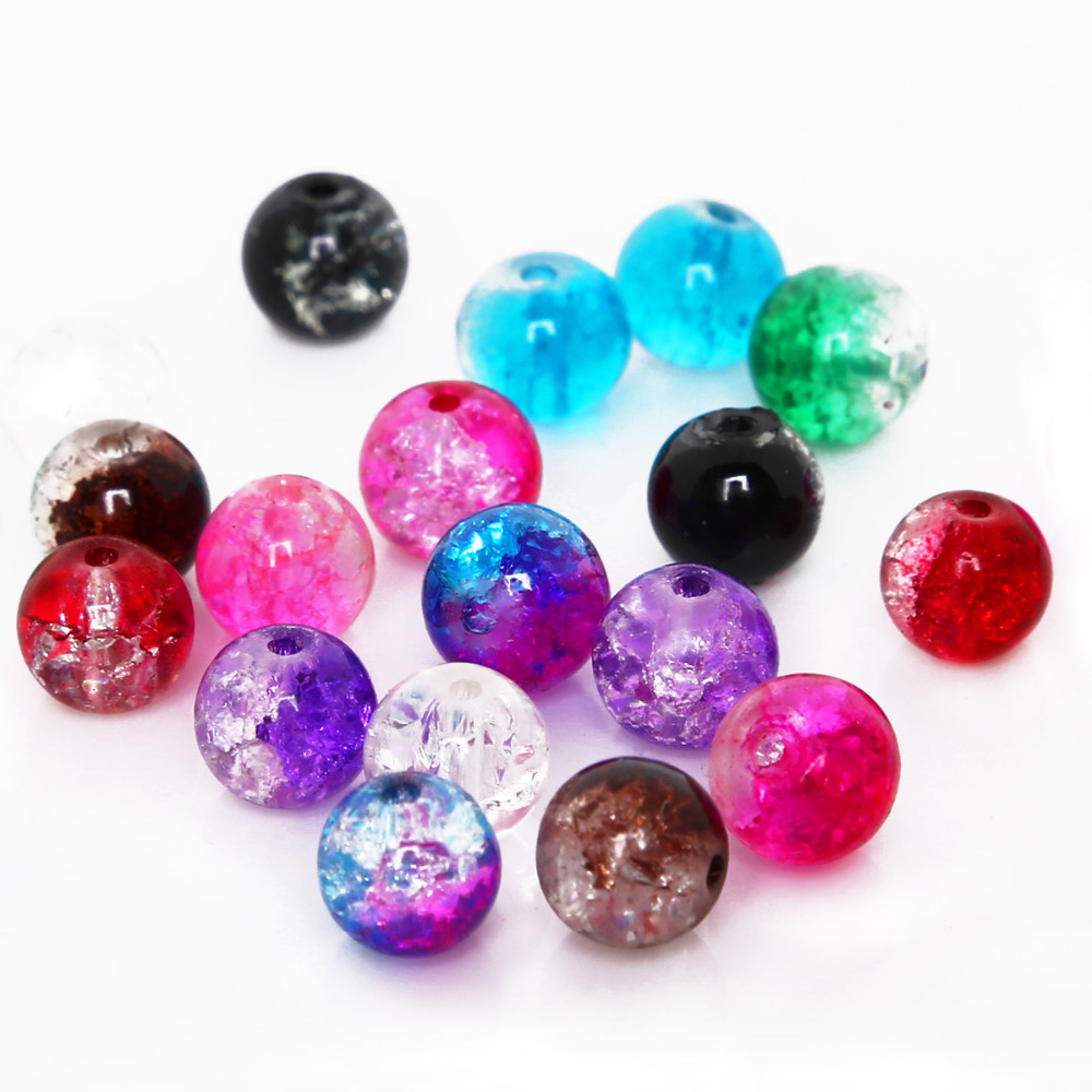 Crackle Beads Necklace Glass Diy Bracelet Jewelry-Making Round 10mm for 4mm 6mm 6mm