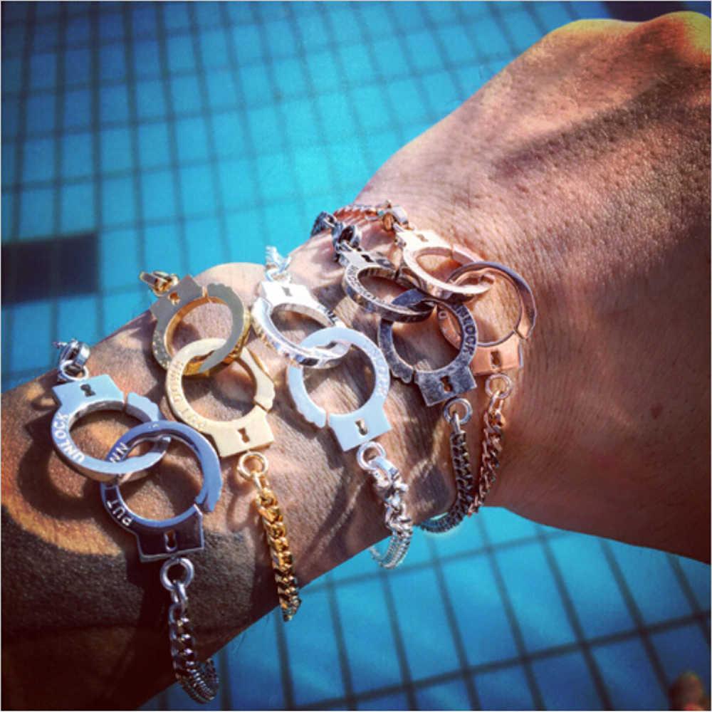Mcilroy link bransoletki i łańcuszki na rękę mężczyźni kobiety ze stali nierdzewnej blokada powiązane z bransoletka płaski łańcuch kajdanki bijoux mężczyzn biżuteria valentine