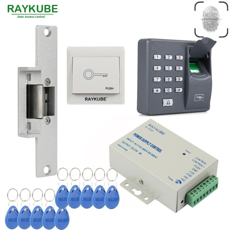 RAYKUBE Biométrique Fingerprin RFID Contrôle D'accès Kit Gâche Électrique Serrure Serrure + Sortie Bouton ID Carte D'alimentation