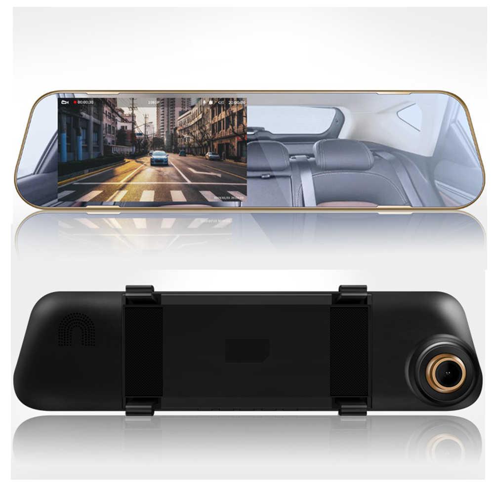 Voiture Dvr Dash caméra enregistreur vidéo rétroviseur 4.3 pouces FHD 1080P Dashcam double lentille avec caméra de vue arrière Auto enregistrateur