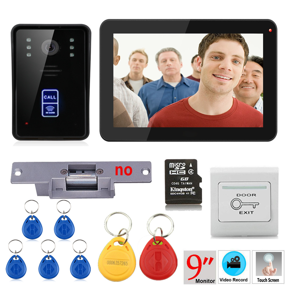 9inch Recording  RFID 900TVL Color Video Door Phone Intercom Kit Rainproof  Night Vision 8G TF Card+Electric Strike  Lock