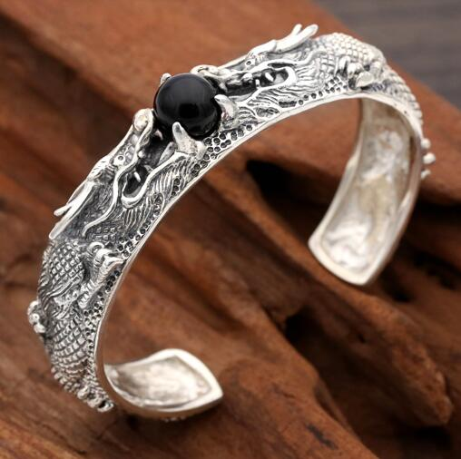 Handmade S925 dragon Bangle 925 silver Man Bangle vintage thai silver dragon bangle man jewelry gift