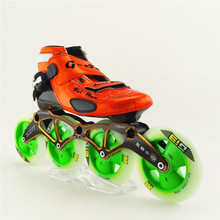 Speed Skates Genuine Brand Inline Professional Speed Skating Shoes Orange And Yellow 4 Wheels Patines Roller