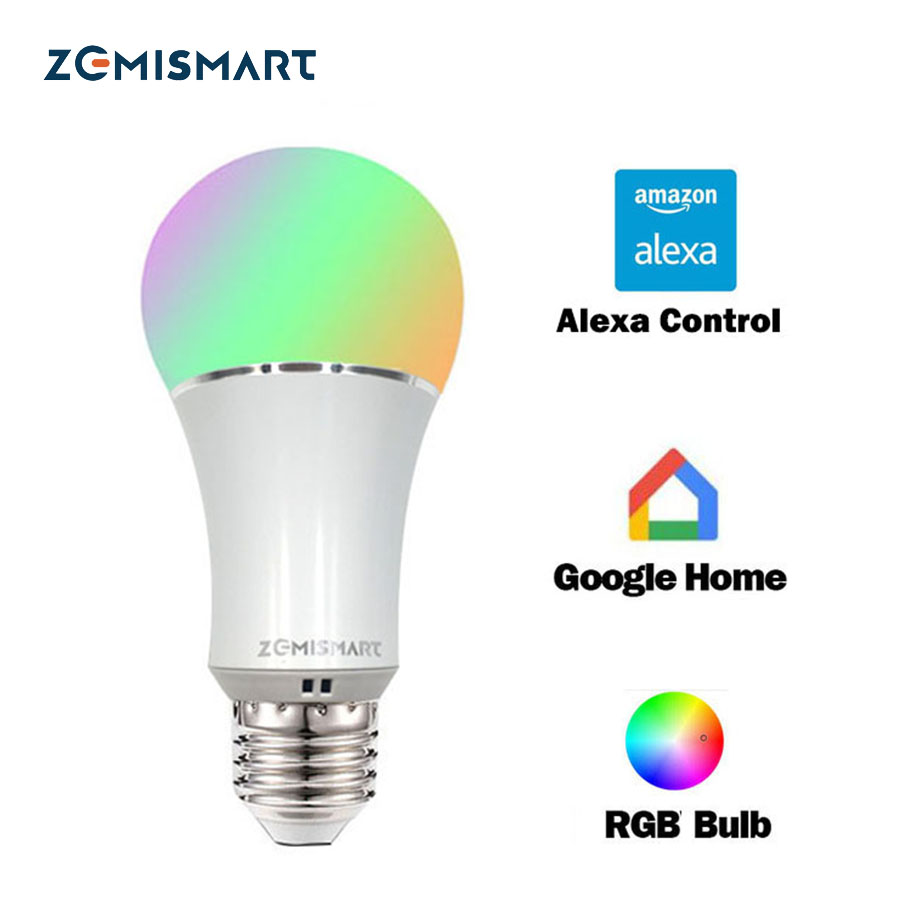 Regulable E27 WiFi RGB Led Bombilla Control de voz por Alexa Echo Google Home 2.4G Control de WiFi por APP Color blanco disponible