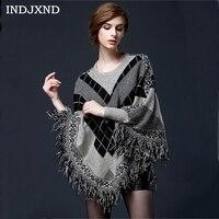 INDJXND Elegant Women S Autumn Winter New Woolen Tassel Cloak Hedging Sweater Knitted Female Batwing Sleeves