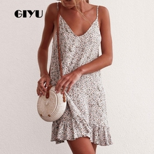 GIYU Summer Women Sleeveless Dress Holiday Mini Dresses Flower Printing Strap Vestido Sexy Ruffles Loose Strap robe femme giyu summer flower printing women long chiffon dress holiday bohemia dresses long sleeve vestido sexy high waist robe femme