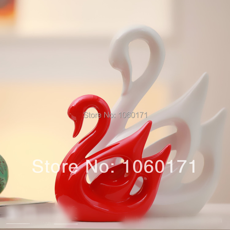 Perfect Modern Home Ornaments Red White Couples Ceramic Swan Decoration Wedding  Gifts Living Room Porcelain Animal Swan ... Part 15