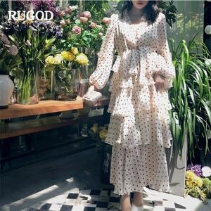 Image 3 - RUGOD אלגנטי מדורג לפרוע שמלת נשים טמפרמנט זהב קו ארוך שרוול המפלגה שמלת הדפסת נקודה מזדמן בוהמי בז שמלה