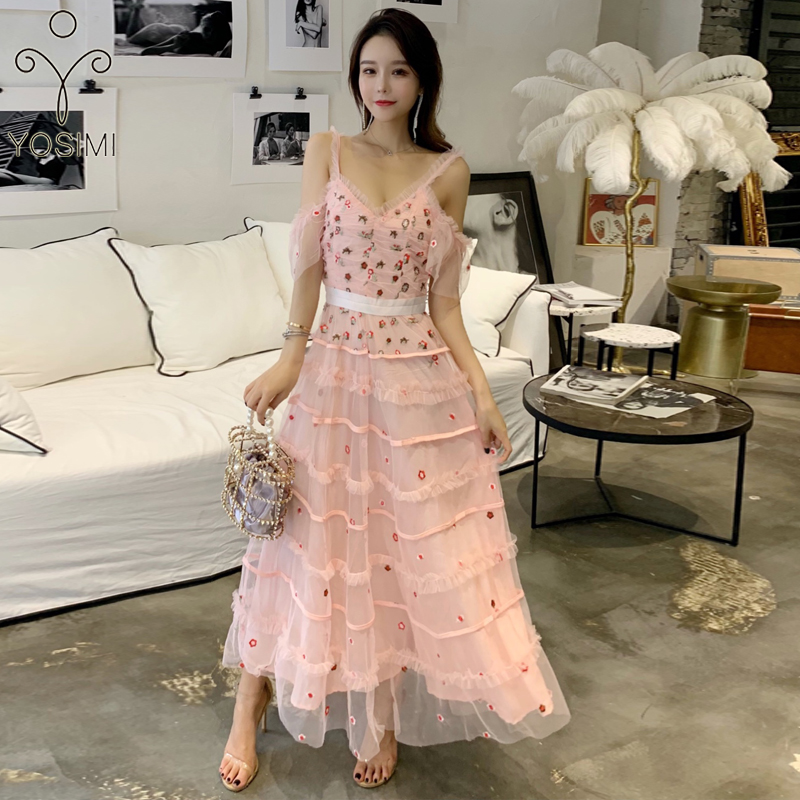 YOSIMI 2019 été Maxi Vintage longue femmes robe Floral broderie à manches courtes col en v femmes robes Sexy fête robes roses