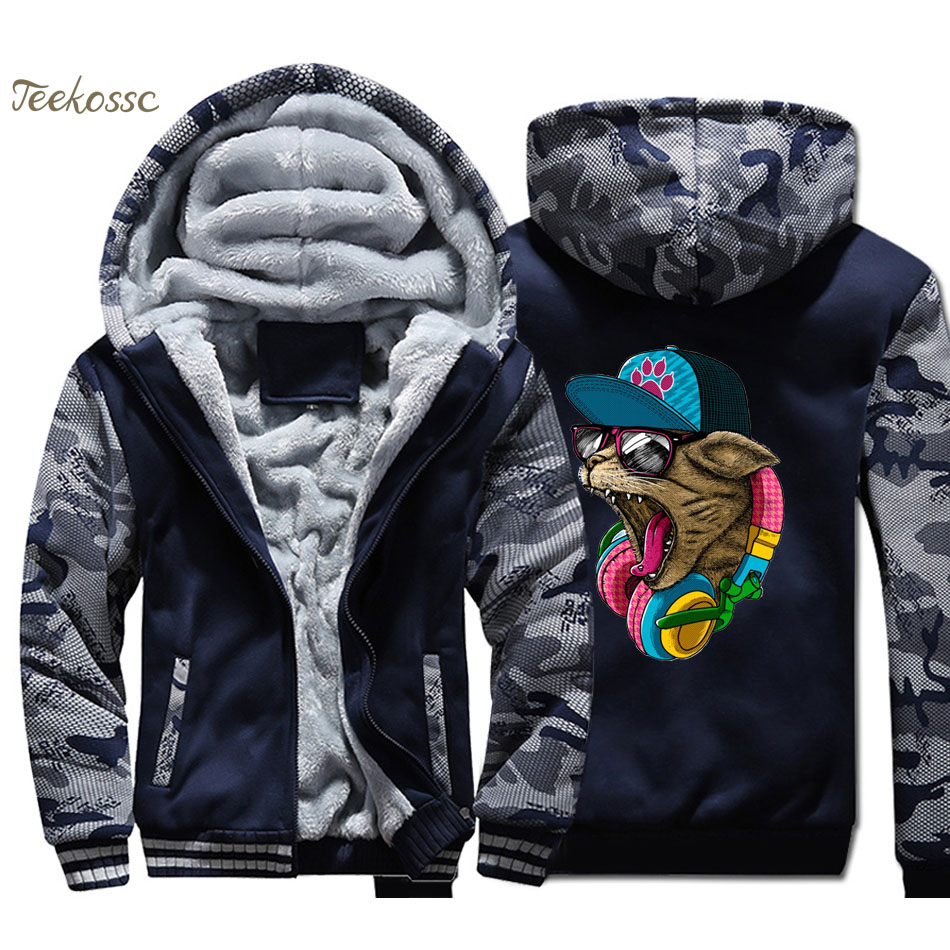 Musci Cat Hoodie Men DJ Kpop Hooded Sweatshirt Coat Winter Warm Fleece Thick Punk Rock Jacket High Quality Hip Hop Sportswear
