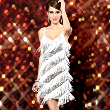 1920s Sexy V Neck Beaded Vintage Sequin Flapper Girl Gatsby Dresses Halloween Costumes Clothes Dance Wear Fringe Tassel Prom