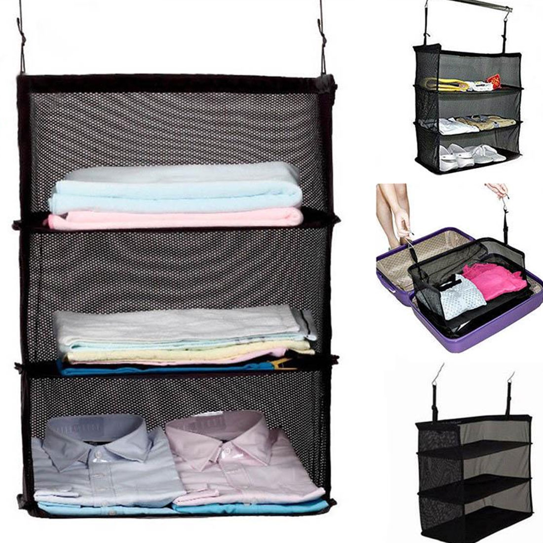 Black 3 Layers Travel Wardrobe Bag Suitcase Shelves Trave Storage Bag Storage Bag Hanging Hooks