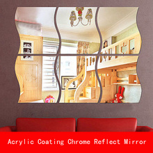 3 Pcs 27*28CM thickness 1mm Acrylic coating Chrome golden unbreak Reflect Mirror Decorative for Wall Shower Room bathroom