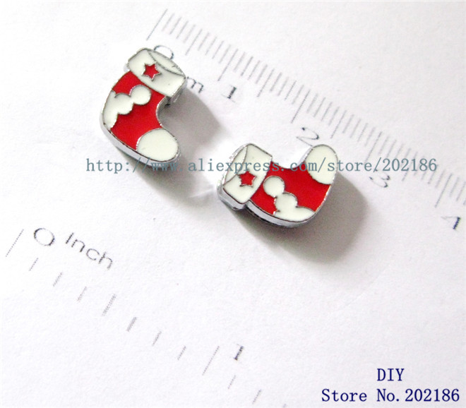 10pcs 8mm stocking christmas Slide Charms Fit Pet Collars Wristbands Belts key chain DIY accessory