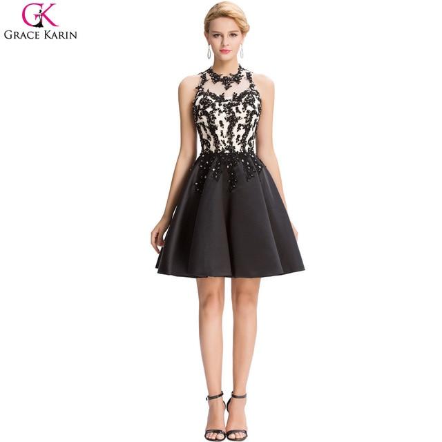 Grace Karin Black Applique 2017 New Beaded Short Cocktail Dress Knee ...
