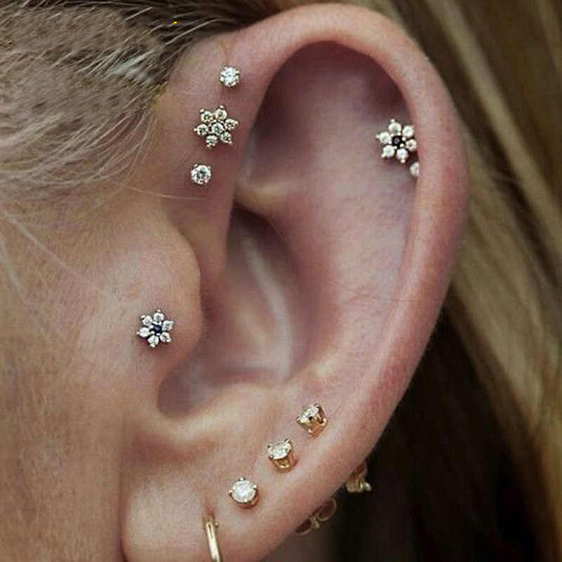 2019 delicate romantic white flower stud earrings with tiny cz paved gold color earring for cute girls lady women shiny earrings