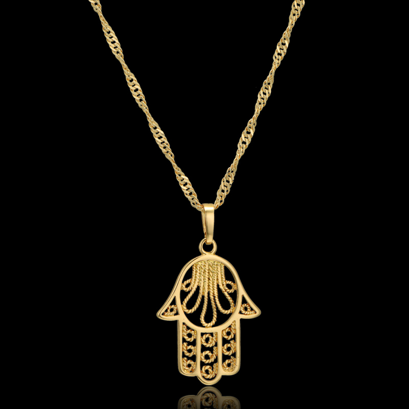 Hamsa hand pendant necklace for women collares vintage ethnic hamsa hand pendant necklace for women collares vintage ethnic necklace gold color hand of fatima pendant necklaces 44cm collier in pendant necklaces from mozeypictures Gallery