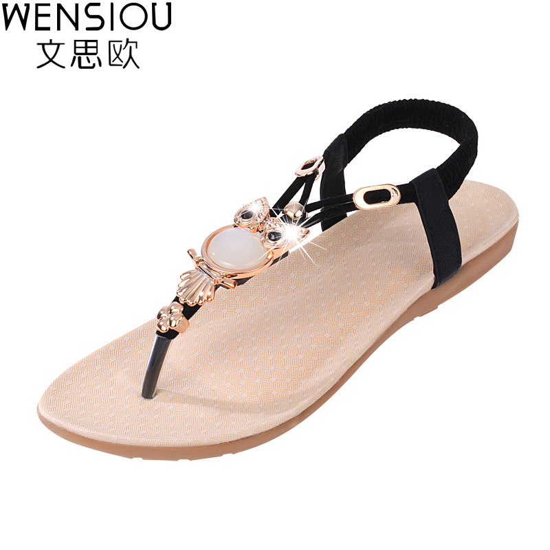 2017 Women Sandals Thong Flat Sandals Fashion Bohemian Beach Shoes Casual Owl Slipper shoes TBT143 цена