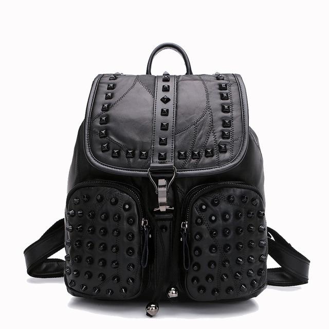 Women Giril Sheepskin Leather Backpack SchoolBag New Fashion Street Travel  Bag Urban Good Quality Small Teens Black Luxury 4ee1dc2d25e7