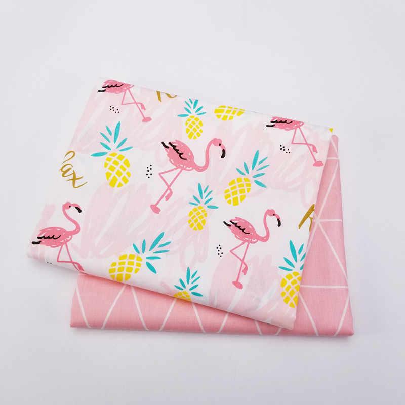 Różowa seria zwierząt drukowana tkanina bawełniana typu diagonal Flamingo wzór geometryczny Fat Quarters obrus patchworkowy Craft tekstylia domowe