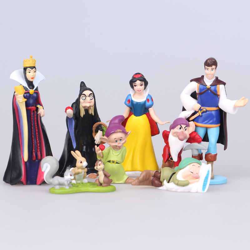 Disney Toys 8pcs/Lot 5-10cm Pvc Princess Snow White Dwarf Action Figure Toys Cartoon Figure Model Anime Juguetes Doll For Girl 8pcs set high quality pvc figure toy doll princess snow white snow white and the seven dwarfs queen prince figure toy