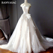 BANVASAC 2017 New Lace Appliques Boat Neck Wedding Dresses Short Cap Sleeve Satin Draped Luxury Chapel Train Bridal Ball Gowns