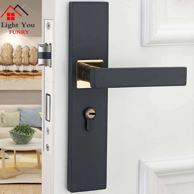 European Style Door Lock Indoor Bedroom Door Lock Black Bathroom Wood Door Handle Household Mute Door Lock