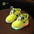 JRQIOT 2017 Осенние Детей Shoes With LED Light Solid Careoon Мальчики Shoes Зима Точка Спортивные Девушки Кроссовки Дети Shoes