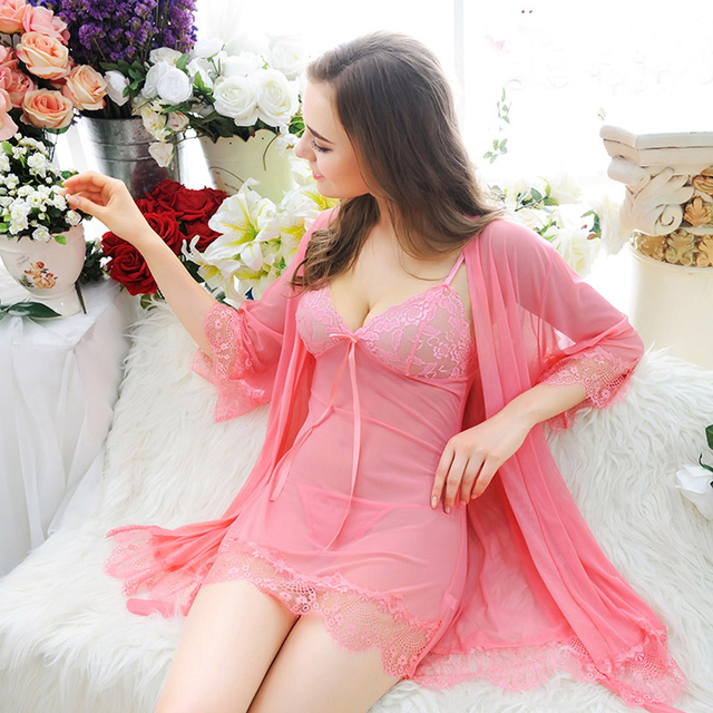 Newest Sexy Lingerie For Women Sexy underwear Ladies Lace Transparent Erotic Lingerie Conjoined Dress Suit Free Shipping 3