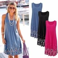 Summer Women Beach Casual Floral Print Mini Dress Off The Shoulder Plus Size Dresses Loose