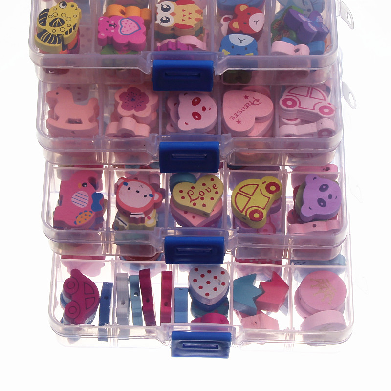 DIY 1 коробка деревянных бусин многоцветные много узоров опционально разделитель деревянные бусины для самостоятельного изготовления ювелирных изделий детская погремушка