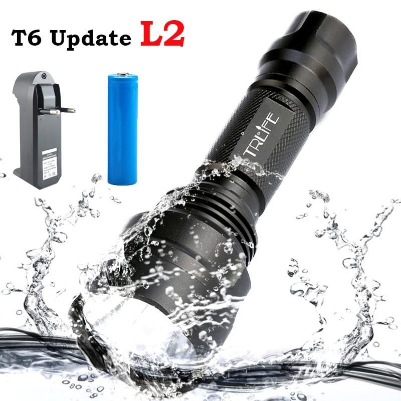 C8 Waterproof 8000 Lumens CREE XM-L2 LED Flashlight Lanterna Tactical Flashlight Torch Camping Light+18650 Battery + Charger