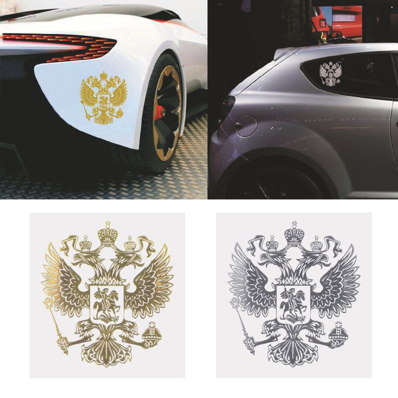 Hot New 1 Pc  Coat Of Arms Of Russia Auto Car Sticker Russian Eagle Decal Stickers For Car Styling Gold / Sliver High Quality