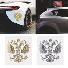 Hot New 1 Pc Coat of Arms of Russia Auto Car Sticker Russian Eagle Decal Stickers For Car Styling Gold / Sliver High Quality(China)