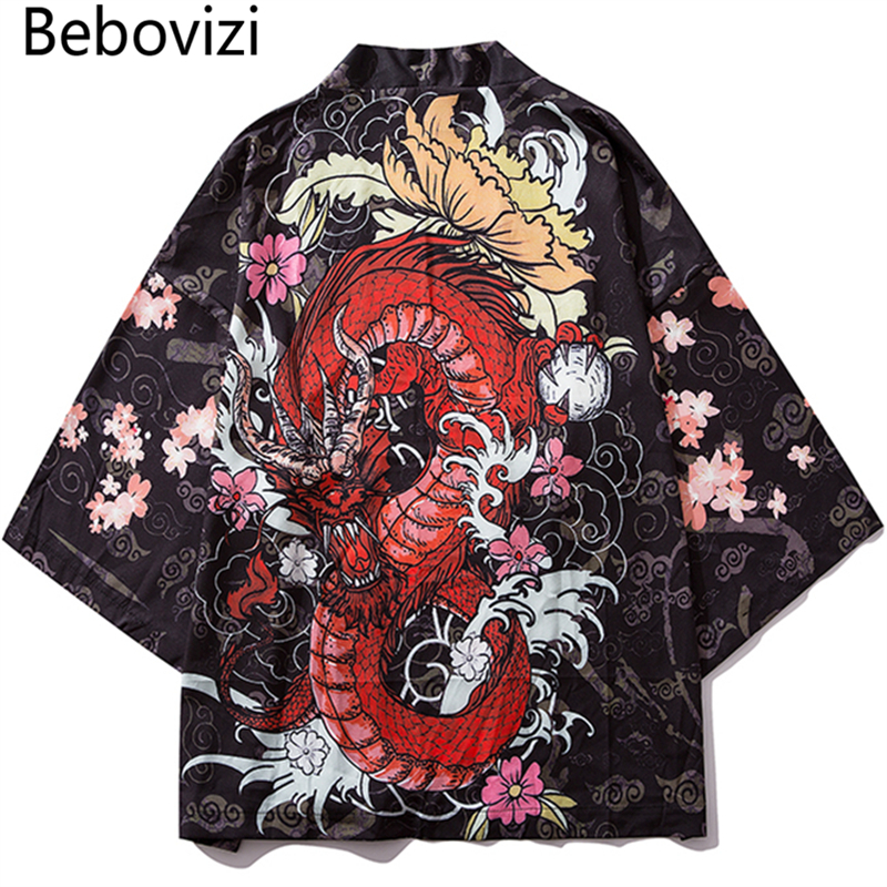 Bebovizi Japan Style Anime Dragon Printed Black Thin Kimono Men Japanese Streetwear Oversize Losse Jackets Casual Outerwear