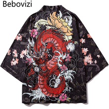 Bebovizi Japan Style Anime Dragon Printed Black Thin Kimono Men Japanese Streetwear Oversize Losse Jackets Casual Outerwear