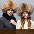 Nueva astilla natural zorro gorra de piel de mapache cuero genuino del oído cálido sombrero de piel de invierno sombreros para hombre tapa protectora venta al por mayor