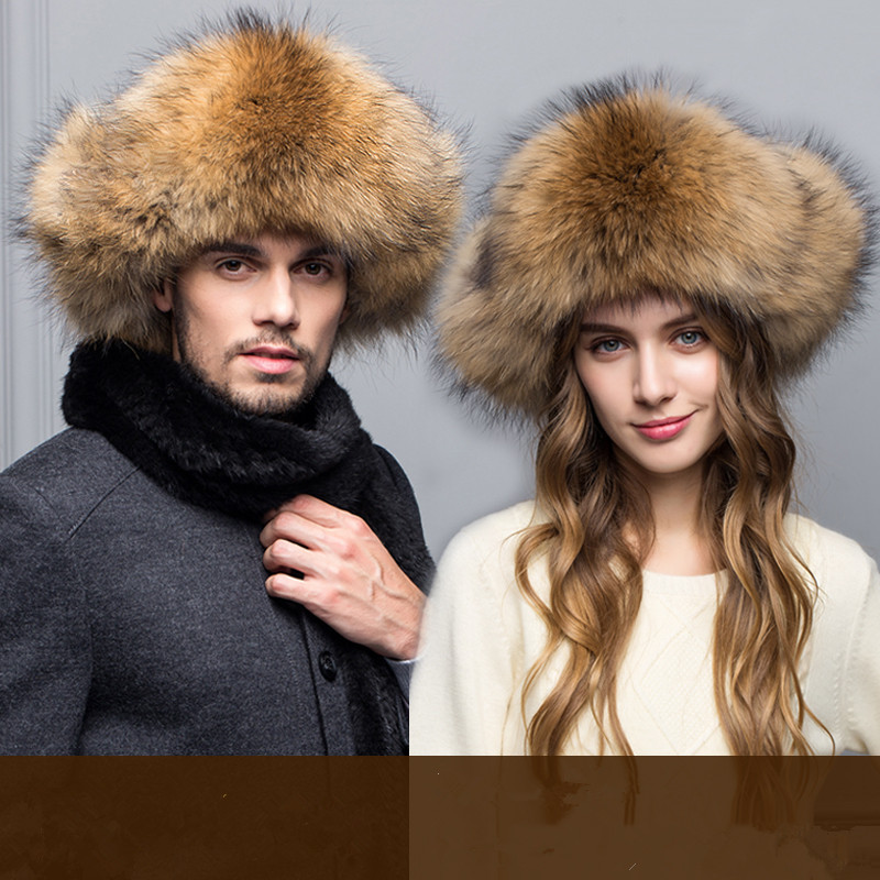 new natural sliver fox raccoon fur cap genuine leather warm ear hat winter real fur hats for men protector cap wholesale
